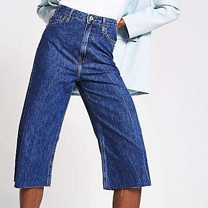 Blue denim culotte high rise jean