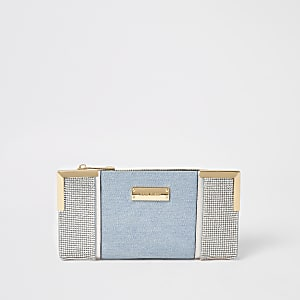 Blauwe uitvouwbare denim portemonnee verfraaid met siersteentjes