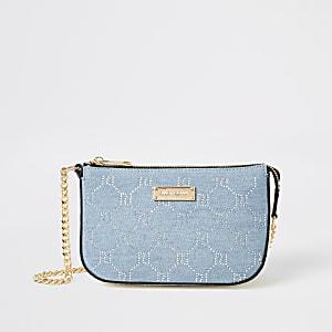 Blue denim diamante embellished underarm bag