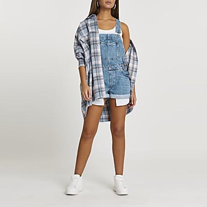Blue denim dungaree loose leg shorts