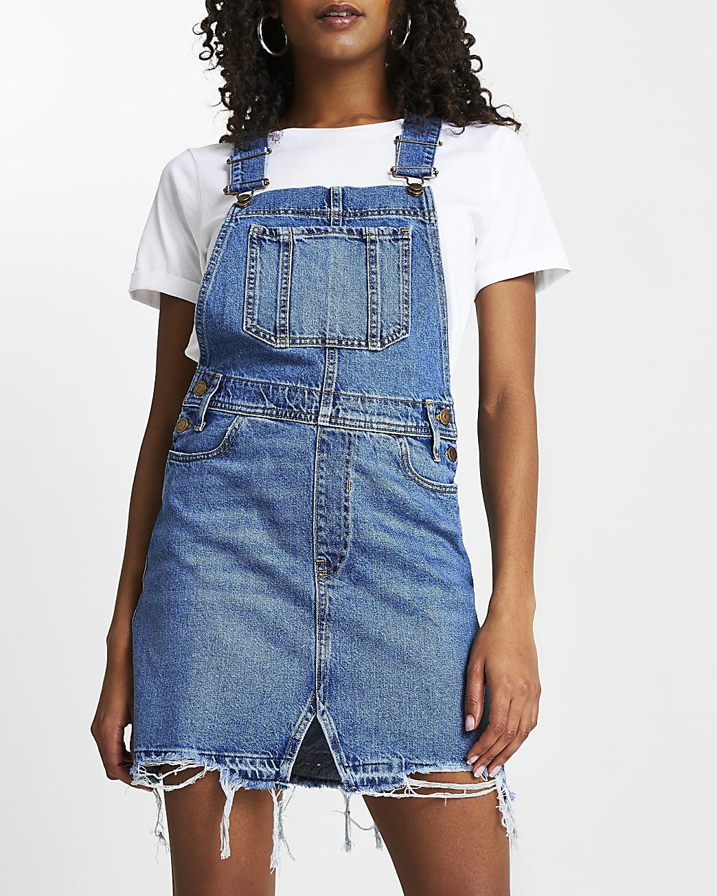 Blue denim dungaree mini dress