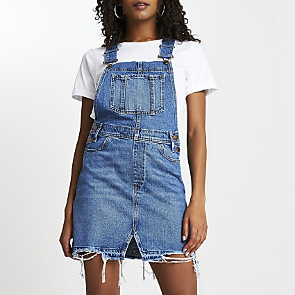 Blue denim dungaree mini dress