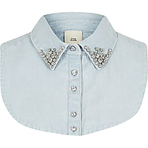 Blue denim embellished collar bib