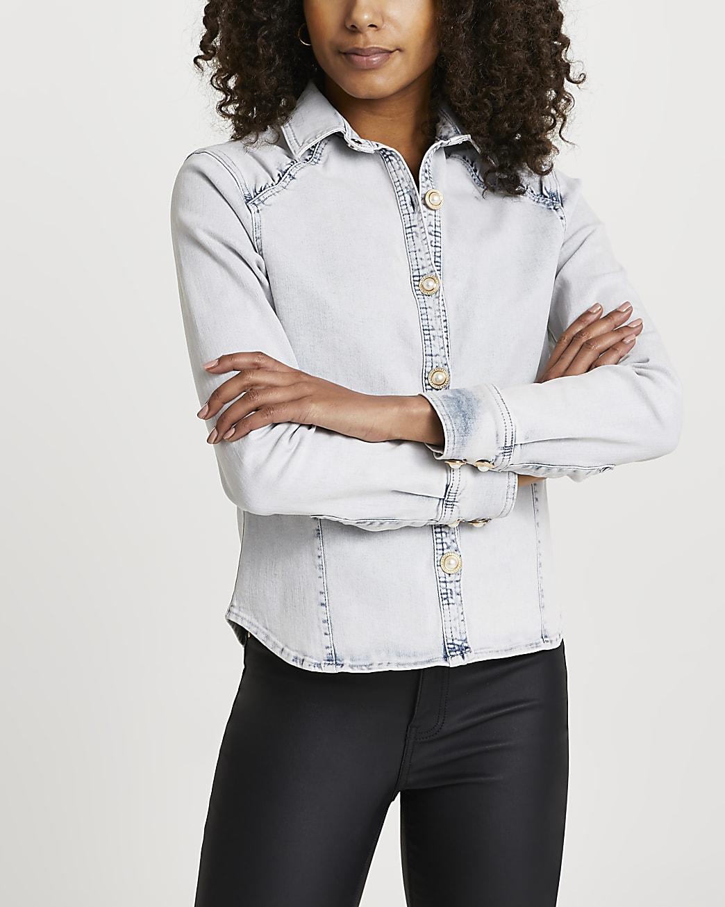 Blue denim embellished long sleeve shirt