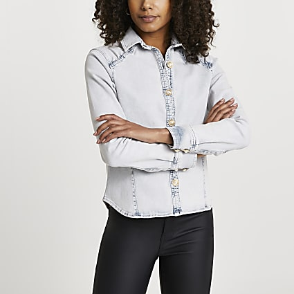 Blue denim embellished long sleeve shirt