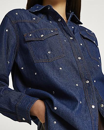 Blue denim embellished shirt
