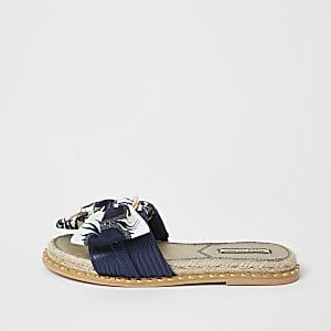 Blue denim espadrille bow sandal