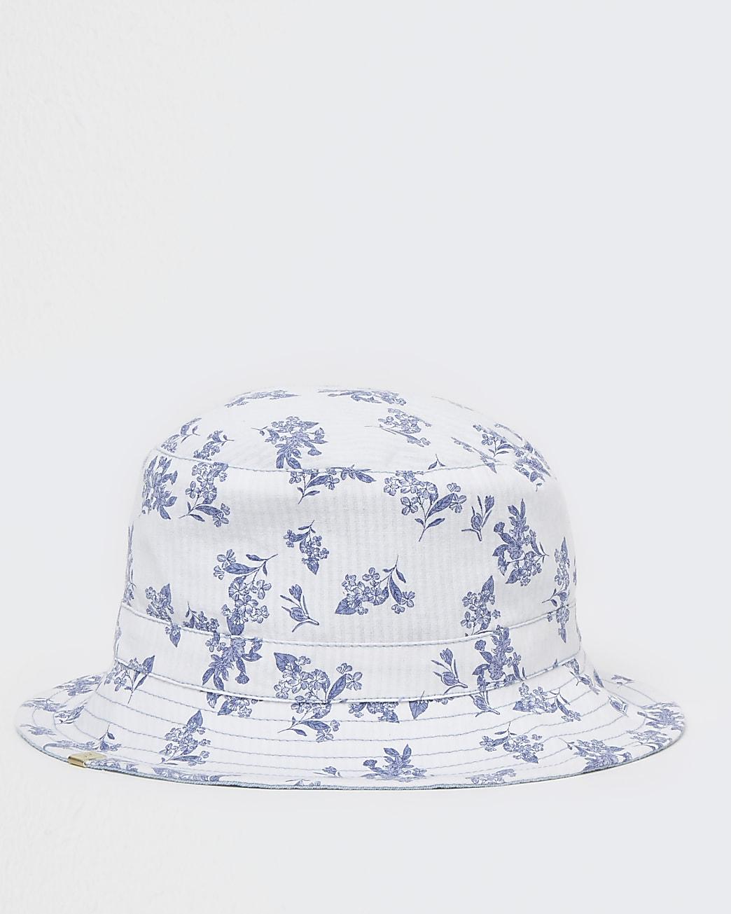 Blue denim floral reversible bucket hat
