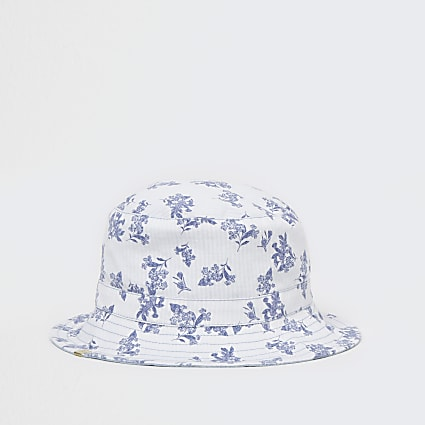 Blue denim floral reversible bucket hat