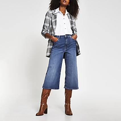 Blue denim high rise culottes