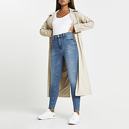 Blue denim high rise skinny jeans