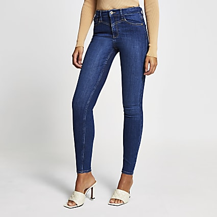Blue denim high rise skinny jeans