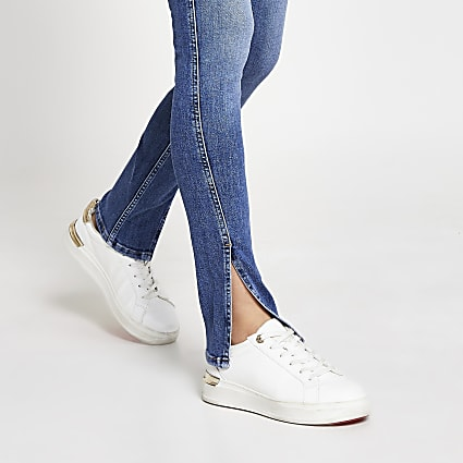 Blue denim high rise slim split hem jeans