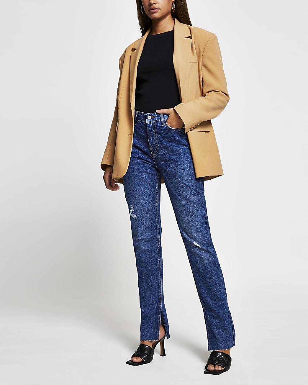 Blue denim high rise straight split hem jeans