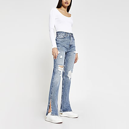 Blue denim high rise straight split hem jeans