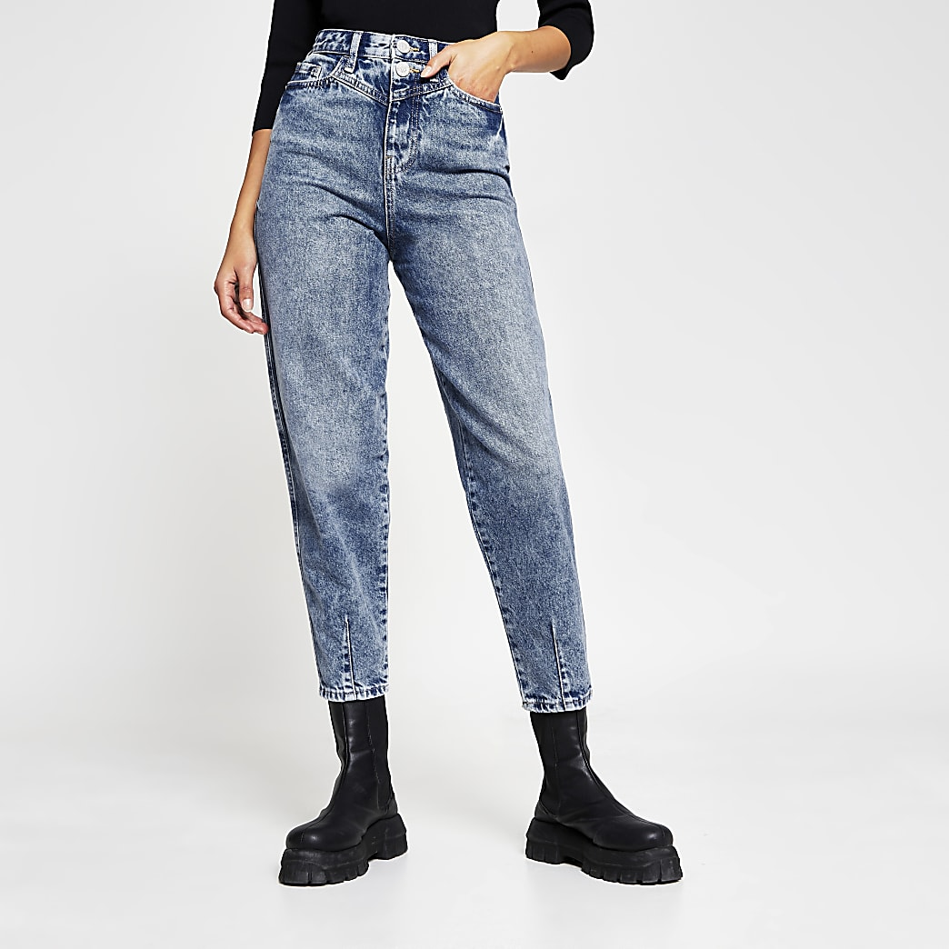Blue denim high rise tapered jeans