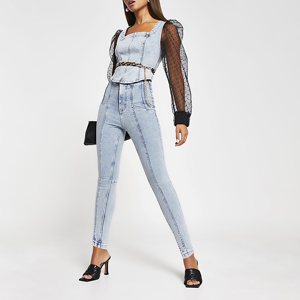 Blue denim high waist skinny jeans