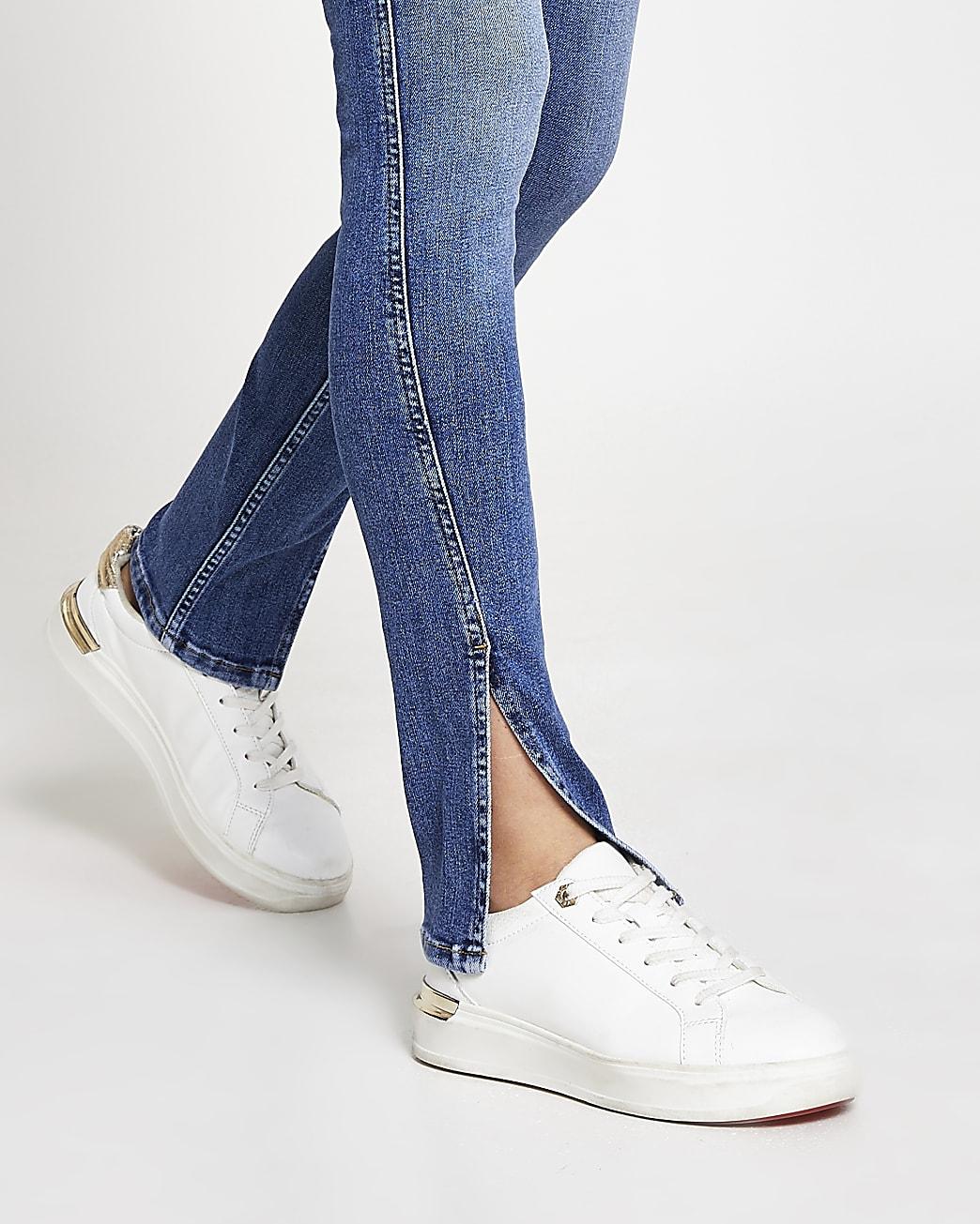 Blue denim high waisted slim split hem jeans