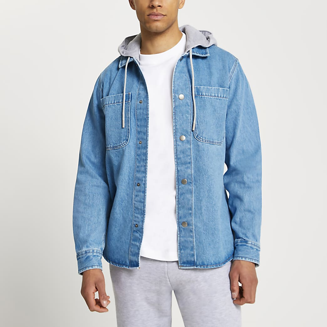 Blue denim hooded shacket