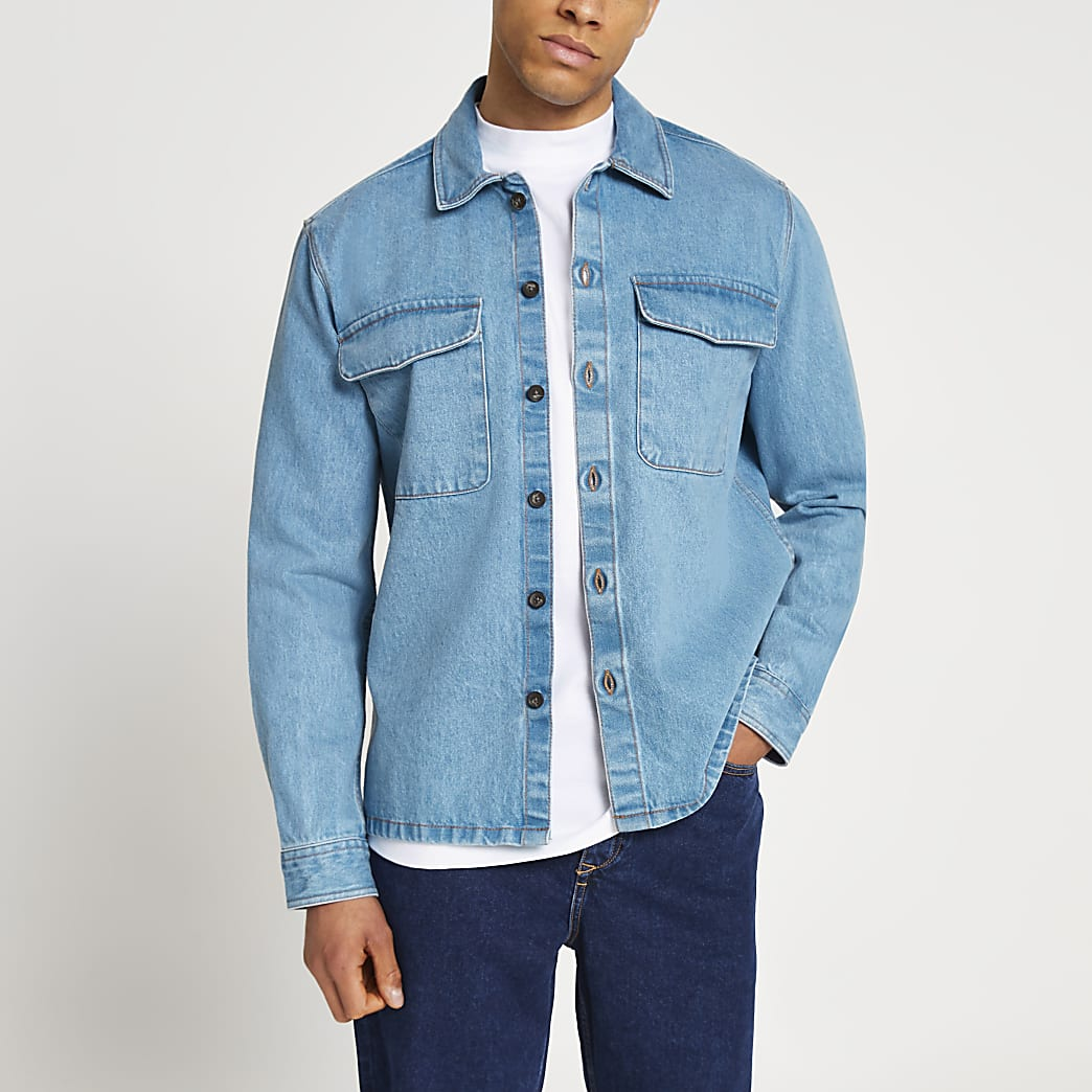 Blue denim long sleeve shacket