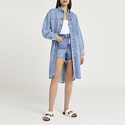 Blue denim longline oversized shirt