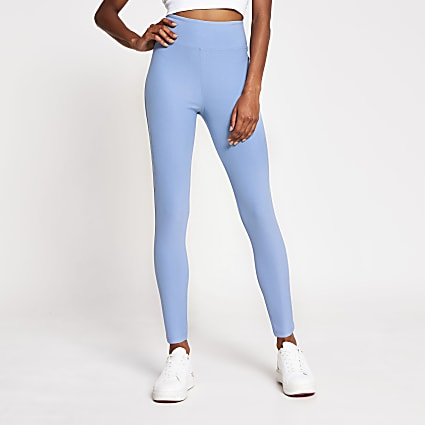 Blue denim look high waist leggings