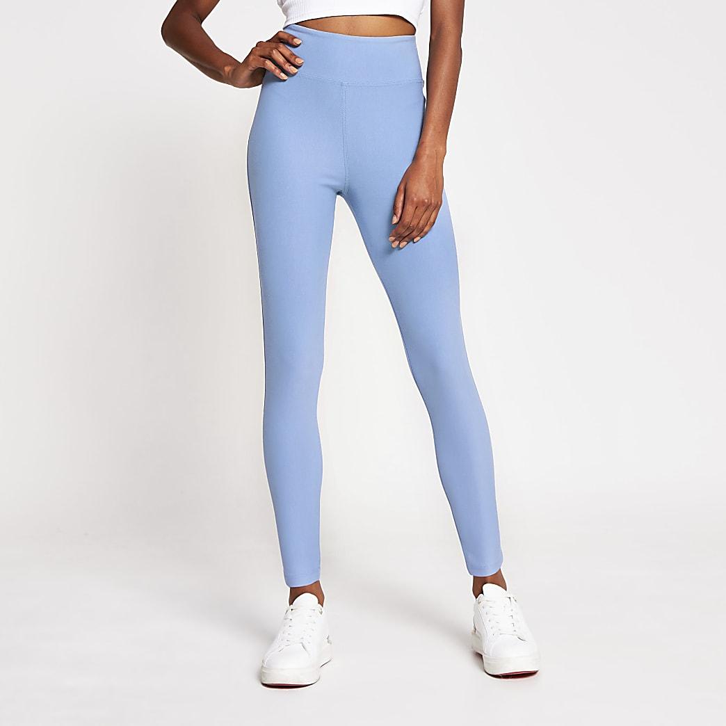 Blue denim look high waist leggings
