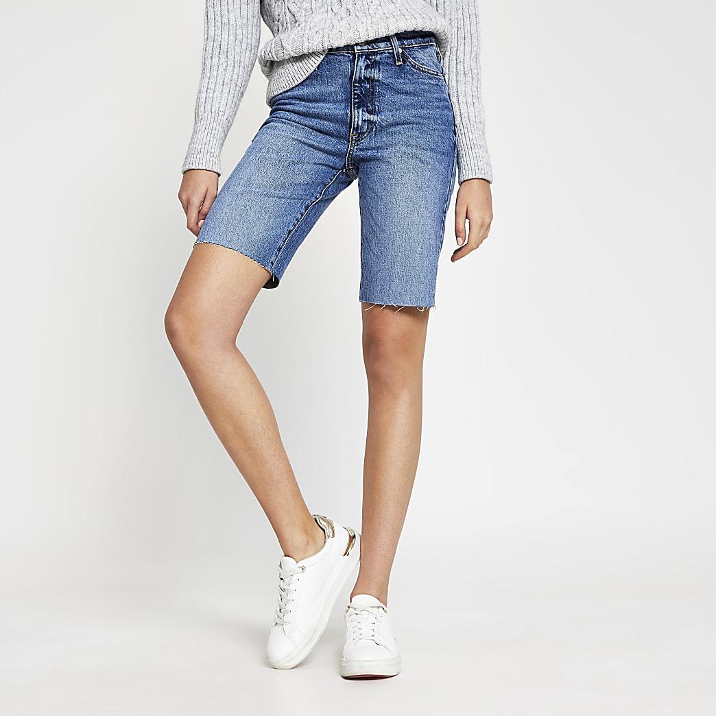 Blue denim mid rise straight leg shorts