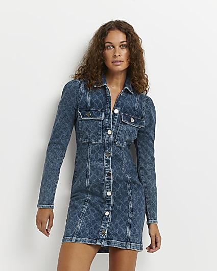 Blue denim mini dress