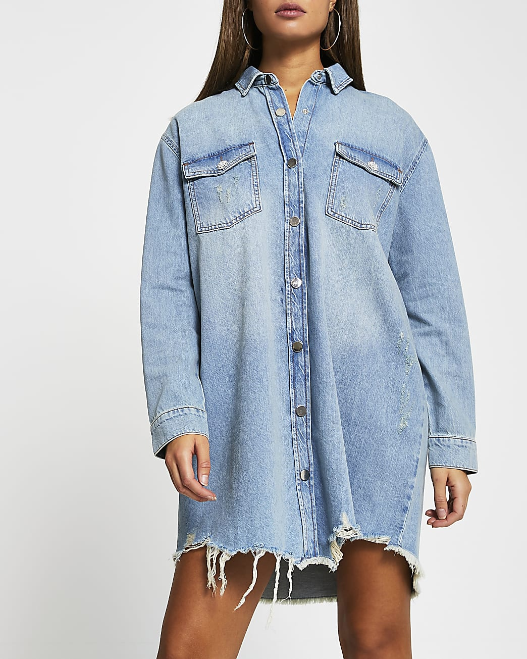Blue denim mini shirt dress