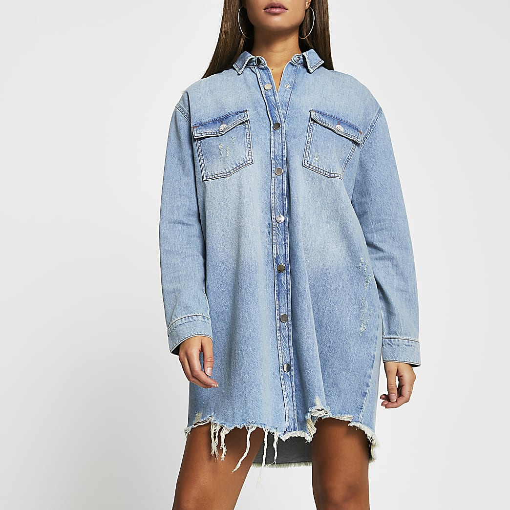 Blue denim mini shirt dress