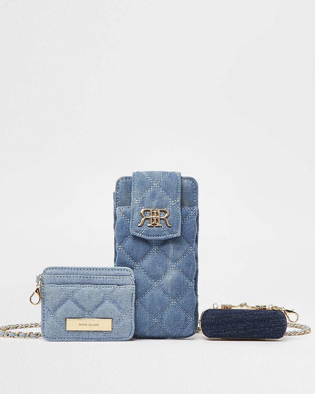 Blue denim multi set pouch bags