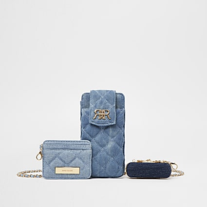Blue denim multi set pouch bags