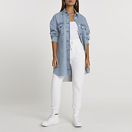 Blue denim notch back shirt dress