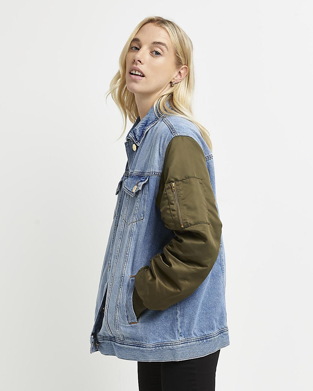 Blue denim oversized bomber jacket