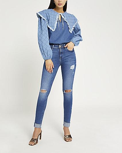 Blue denim oversized collar blouse