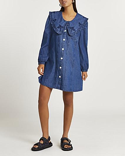 Blue denim oversized collar mini dress