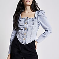 Blue denim puff sleeve button front top