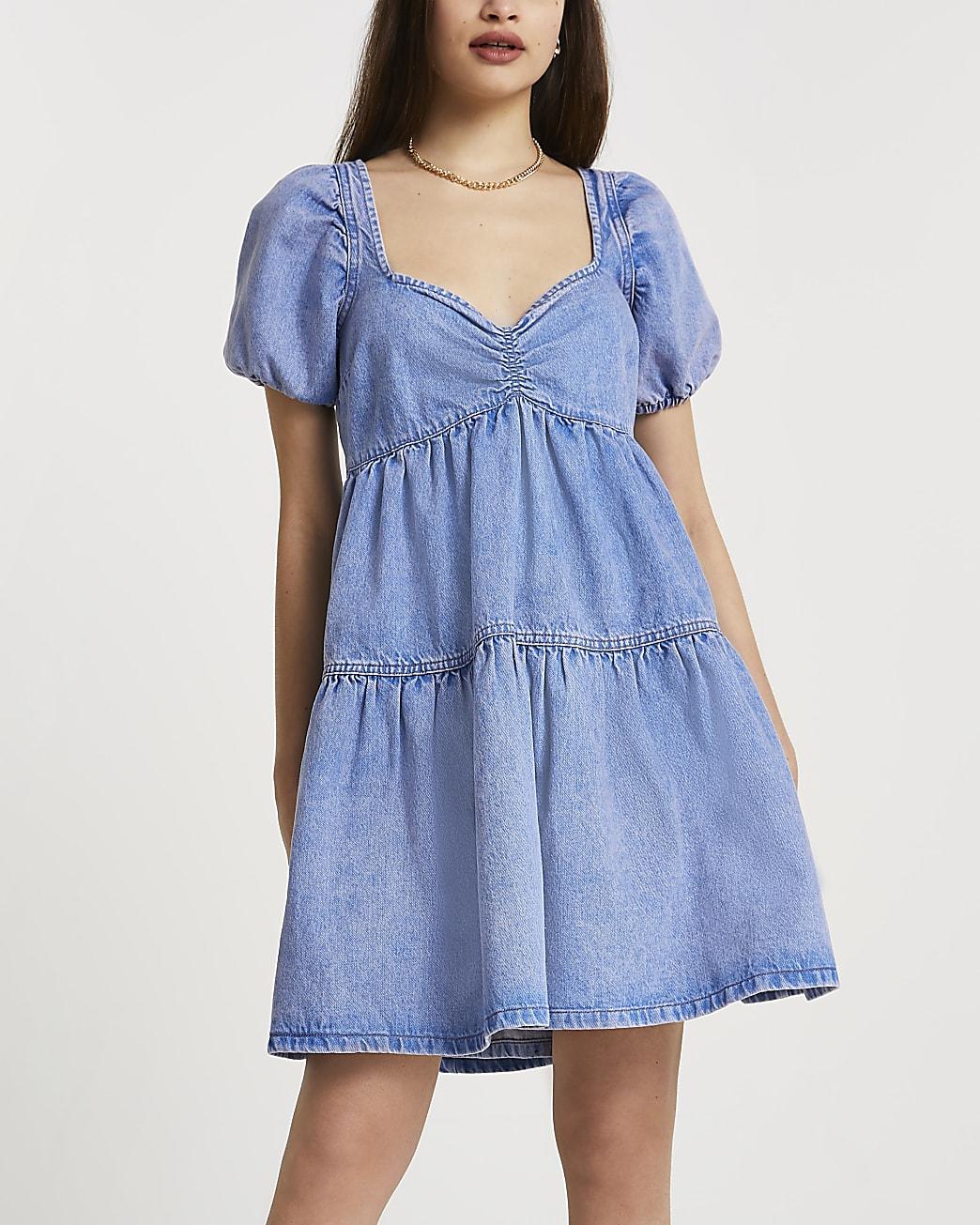 Blue denim puff sleeve mini smock dress