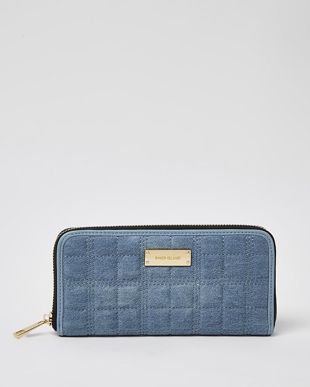Blue denim quilted purse