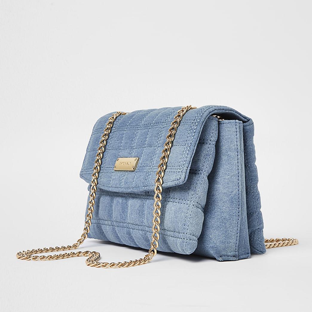 Blue denim quilted shoulder bag