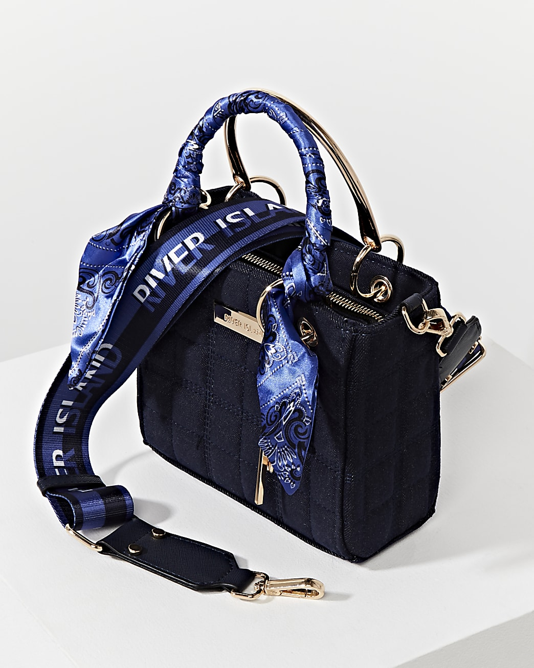 Blue denim RI boxy quilted tote bag