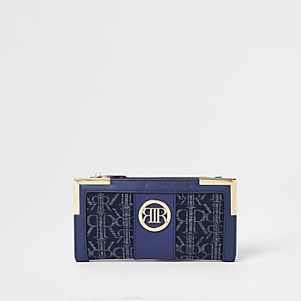 Blue denim RI jacquard metal corner purse