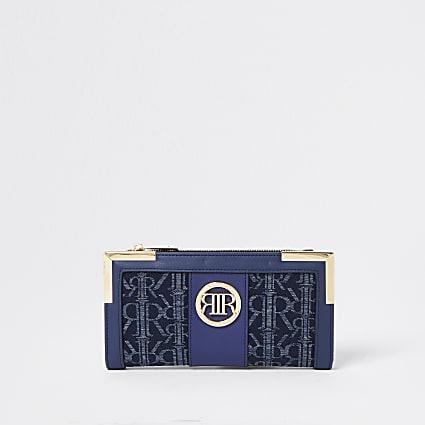 Blue denim RI jacquard metal corner purse