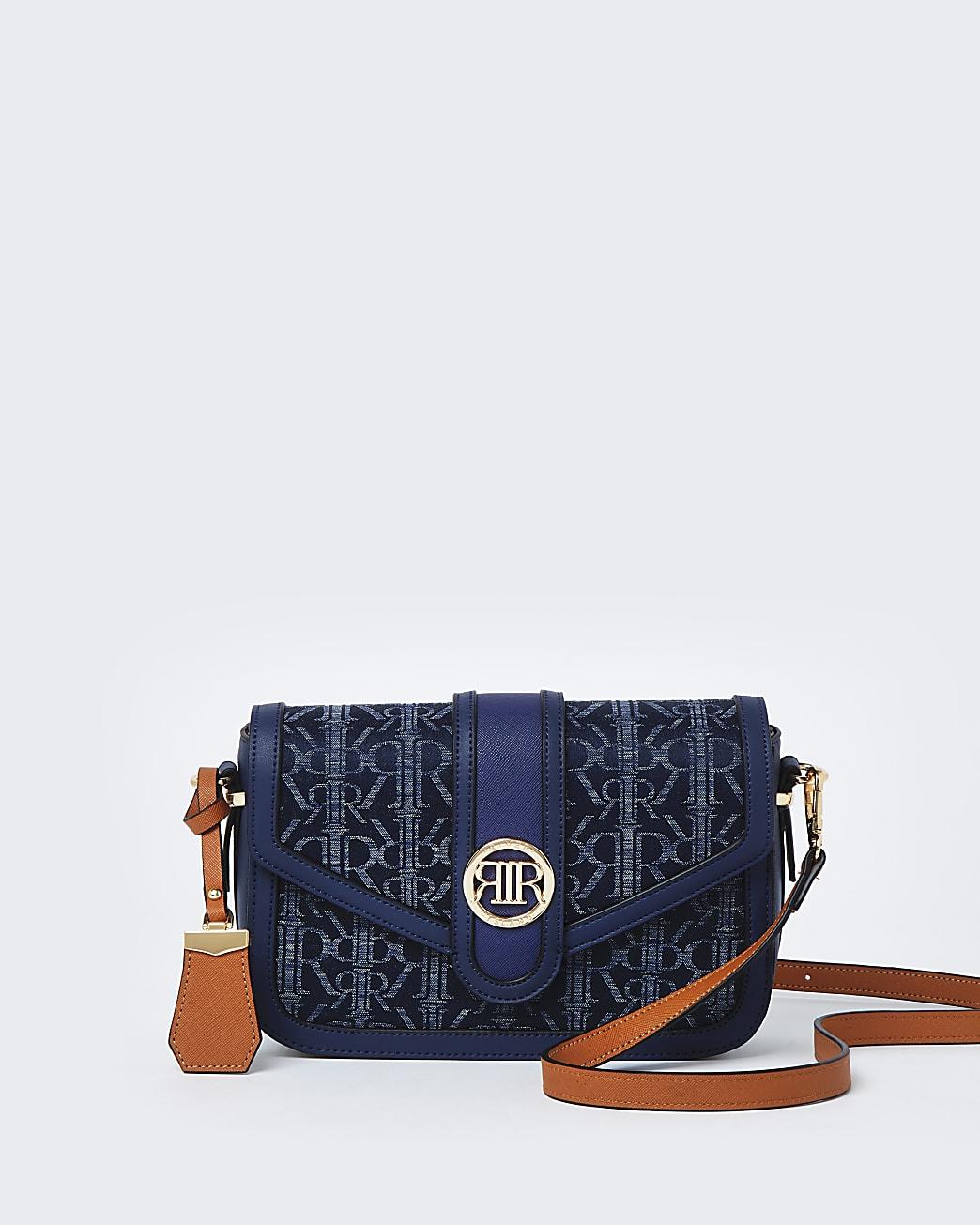 Blue denim RI monogram print satchel