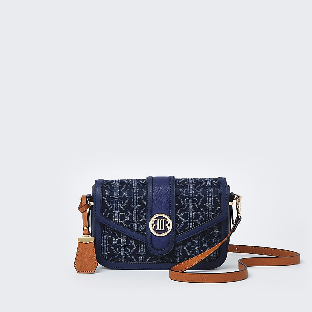 Blue denim RI monogram print satchel