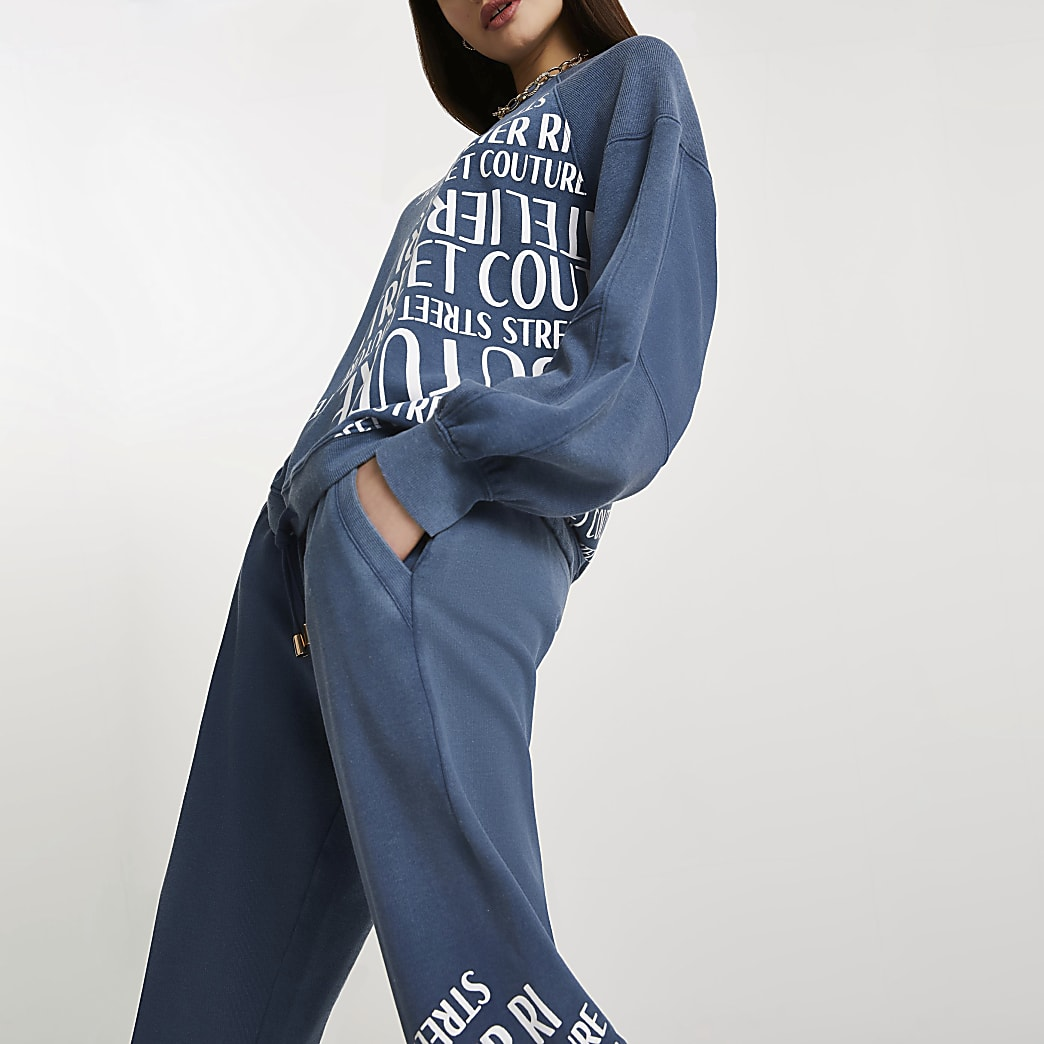 Blue denim ribbed mix washed sweatshirt