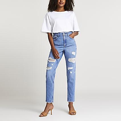 Blue denim ripped mom jeans