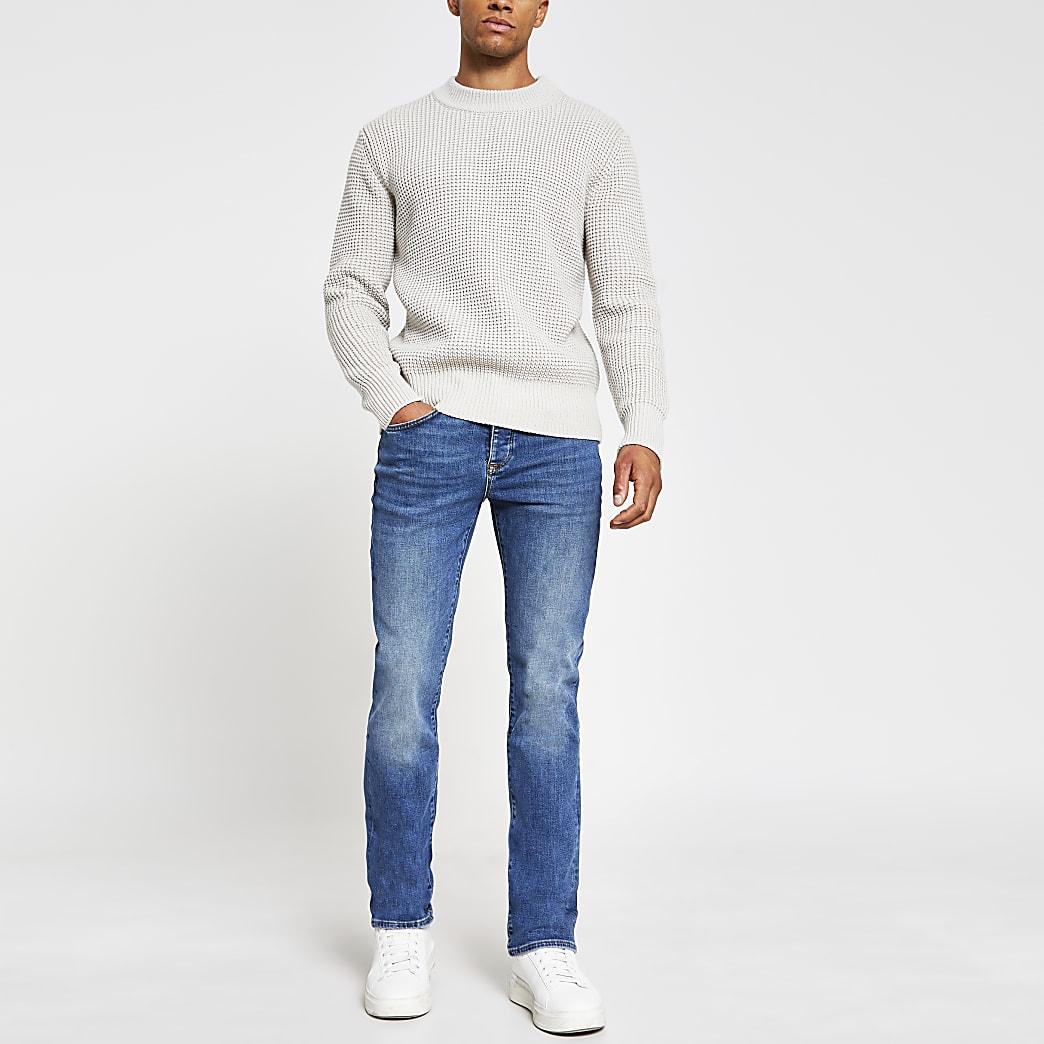 Blue denim rustic bootcut jeans