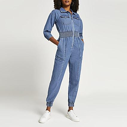 Blue denim shirred waist tapered boilersuit